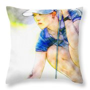 Michelle Wie - Third Round Of The Lpga Lotte Championship Throw Pillow
