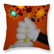 Mickeys Flowers Throw Pillow