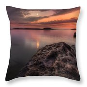 2 Mile Point Sunset And Moonrise Throw Pillow