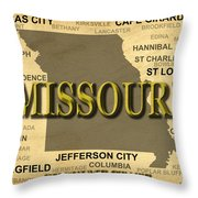 Missouri State Pride Map Silhouette  Throw Pillow