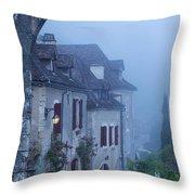 Misty Dawn In Saint Cirq Lapopie Throw Pillow