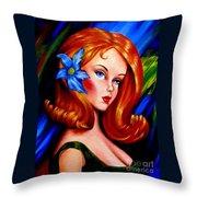 Mod Barbie Redhead Throw Pillow