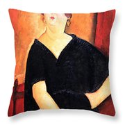 Modigliani's Madame Amedee -- Woman With Cigarette Throw Pillow