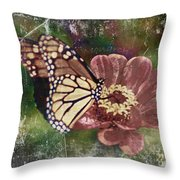 Monarch- Butterfly Mixed Media Photo Composite Throw Pillow