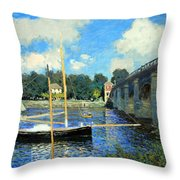 Monet's The Bridge At Argenteuil Throw Pillow
