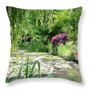 Monets Waterlily Pond Throw Pillow