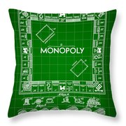 Monopoly Patent 1935 - Green Throw Pillow