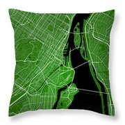 Montreal Street Map - Montreal Canada Road Map Art On Colored Ba Throw Pillow