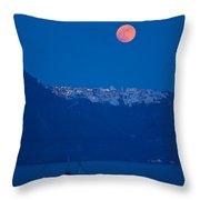 Moon Over Santorini Throw Pillow