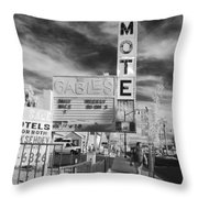 2 Motels Throw Pillow