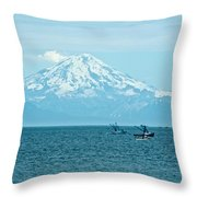 Mount Redoubt Across Cook Inlet From Ninilchik-ak   Throw Pillow