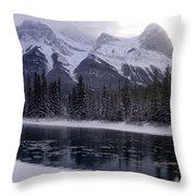 Mountain Sunset Christmas Canmore, Alberta Throw Pillow