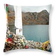 Mountain Lake Gosaikunda Nepal Throw Pillow