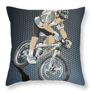Mountainbike Sports Action Grunge Color Throw Pillow