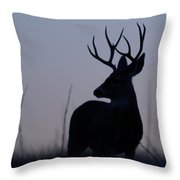 Mule Deer Buck At Sunset Throw Pillow
