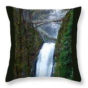 Multnomah Falls Bridge Throw Pillow
