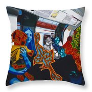 Mutinous Objects Gather In Darkness. The Underground Throw Pillow