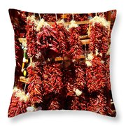 New Mexico Red Chili Ristra And Gralic Throw Pillow