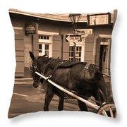 New Orleans - Bourbon Street Horse 3 Throw Pillow