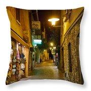 Night. Sirmione. Lago Di Garda Throw Pillow