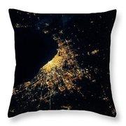 Night Time Satellite Image Of Chicago Throw Pillow