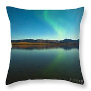 Northern Lights And Fall Colors At Calm Lake Throw Pillow