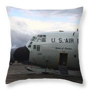 Nose Cone Detail On A Lc-130h Aircraft Throw Pillow