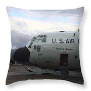 Nose Cone Detail On A Lc-130h Aircraft Throw Pillow by Timm Ziegenthaler