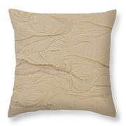 Ocean Sand Art Hearts Left Side Throw Pillow