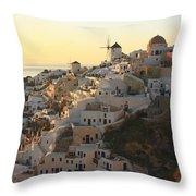 Oia At Sunset Santorini Cyclades Greece  Throw Pillow
