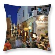Oia Town During Dusk Time Throw Pillow