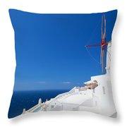 Oia Town On Santorini Island Greece Throw Pillow