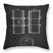 Oil Drum Patent Drawing From 1905 Throw Pillow