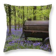 Old Farm Machinery In Vibrant Bluebell  Spring Forest Landscape Throw Pillow