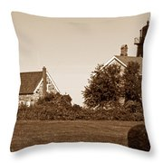 Old Field Point Lighthouse Throw Pillow