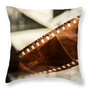 Old Film Strip And Photos Background Throw Pillow