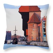 Old Port Crane In Gdansk Throw Pillow