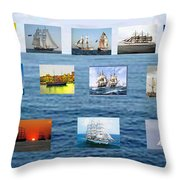 Old Tall Ships Throw Pillow