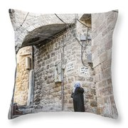 Old Town Street In Jerusalem Israel Throw Pillow