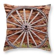 Old Wagon Wheel 2 Throw Pillow