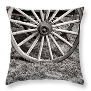Old Wagon Wheel On Cart Throw Pillow