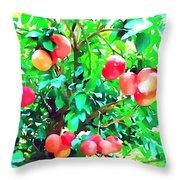 Orange Trees With Fruits On Plantation Throw Pillow