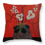 Orchids In A Pot On Orange Throw Pillow