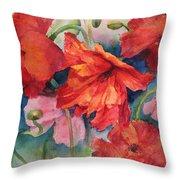 Oriental Poppies Throw Pillow
