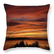 Outer Banks Sunset Over Bay And Colington Island Throw Pillow