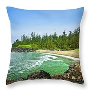Pacific Ocean Coast On Vancouver Island Throw Pillow
