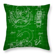 Padlock Patent 1935 - Green Throw Pillow