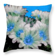 Painterly Cactus Flowers Throw Pillow