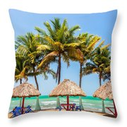 Palm Trees And Sea Throw Pillow