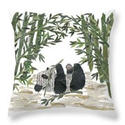 Panda Bear In Bamboo Bush Hand-torn Newspaper Collage Art  Throw Pillow